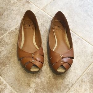 Lucky Brand Ester 2 peep toe leather flats size 5
